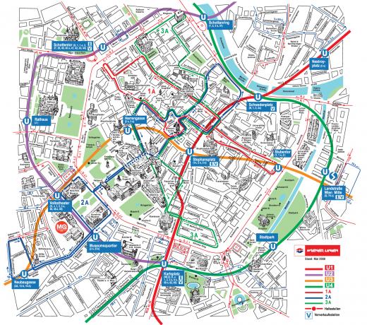 Карта на градският транспорт във Виена